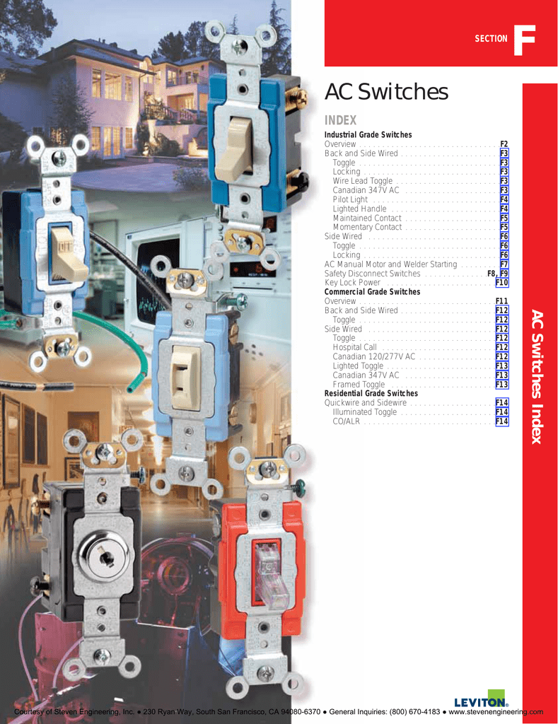 Ac Switches Steven Engineering Cooper Wiring Quiet Toggle Switch Single Pole Lighted 15 A 120 V Ivory