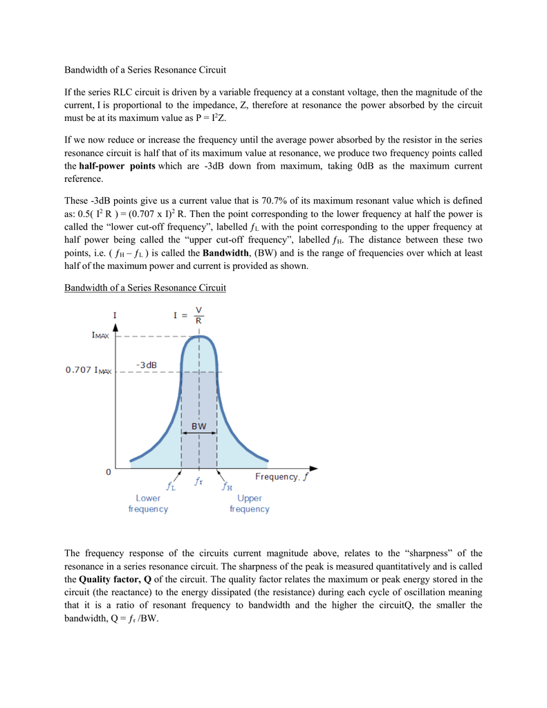 Bandwidth Of A Series Resonance Circuit If The Rlc Is Ac Inductance And Capacitance Lcr In