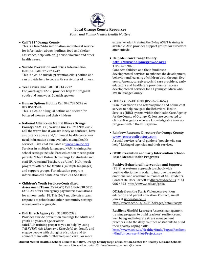 Oc Resource List Flyer Orange County Department Of Education