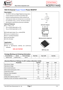 NCE N-Channel Enhancement Mode Power MOSFET