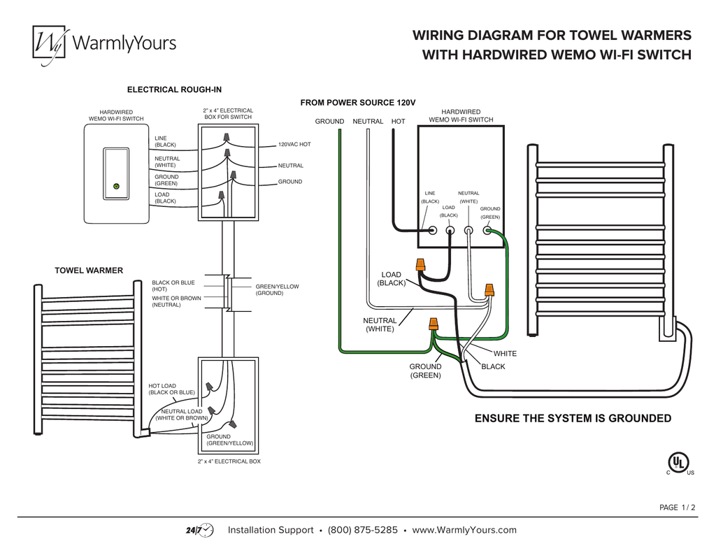wiring diagram for towel warmers with hardwired wemo wi | Wisconsin Wiring Diagrams |  | StudyLib