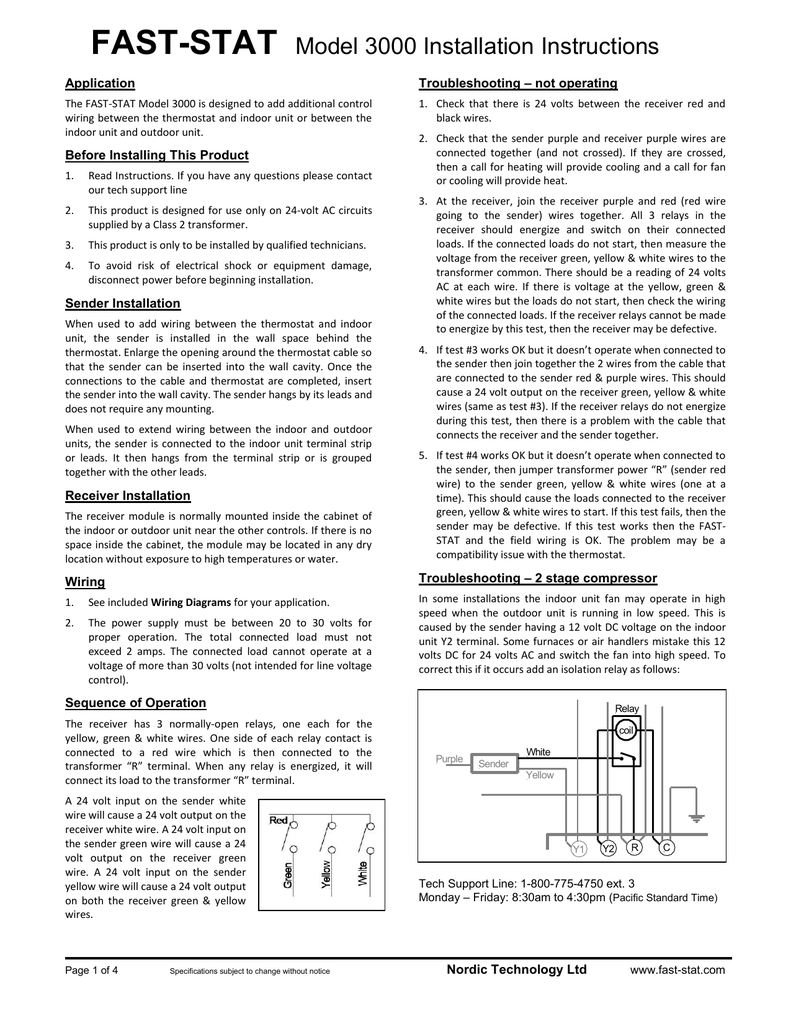Fast Stat Model 3000 Installation Instructions 24 Volt Ac Relay Wiring Diagram