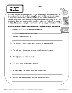 Metaphor Meanings | Figurative Language Worksheets