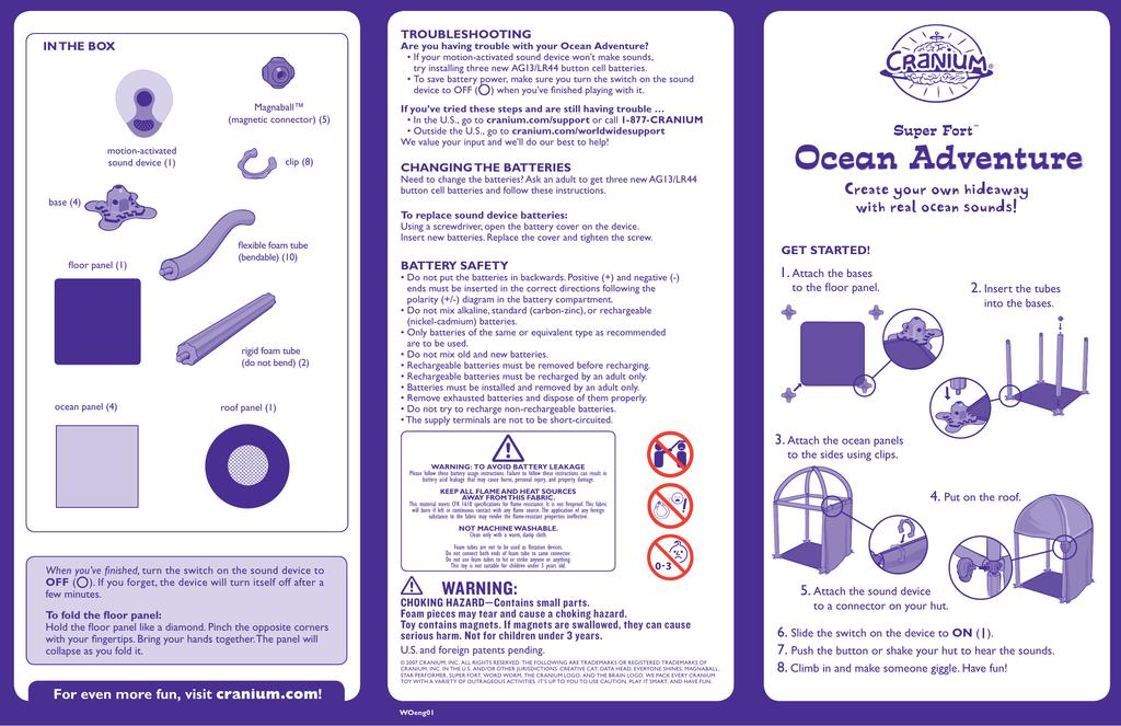Cranium Super Fort Ocean Adventure Instructions