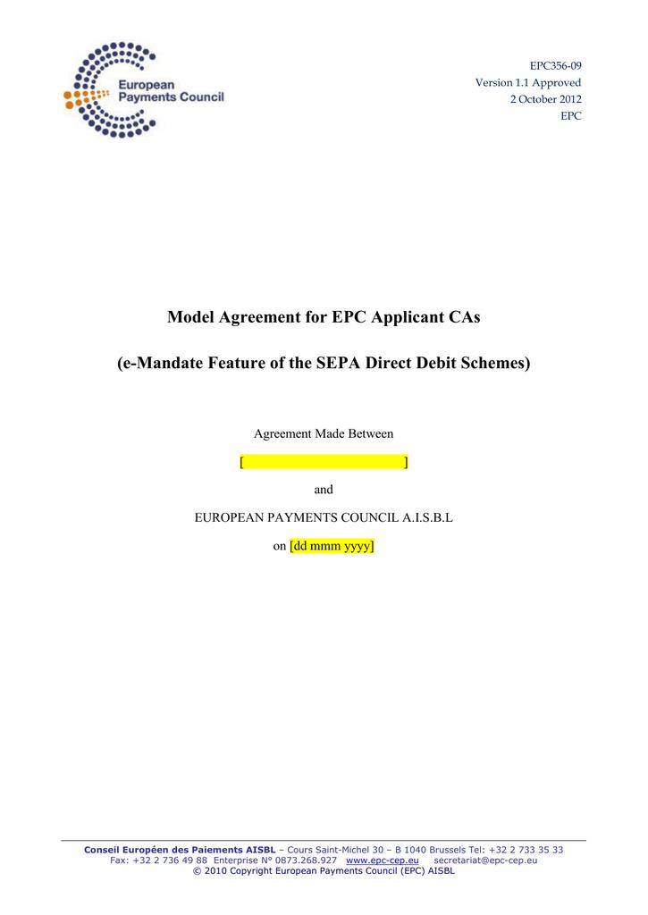 Model Agreement For Epc Applicant Cas E