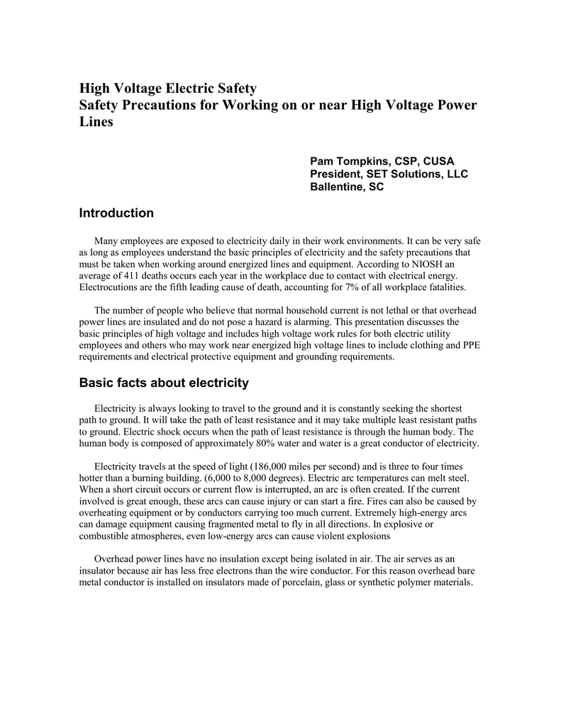 High Voltage Electric Safety Safety Precautions for Working on or