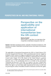 Perspective on the applicability and application of international