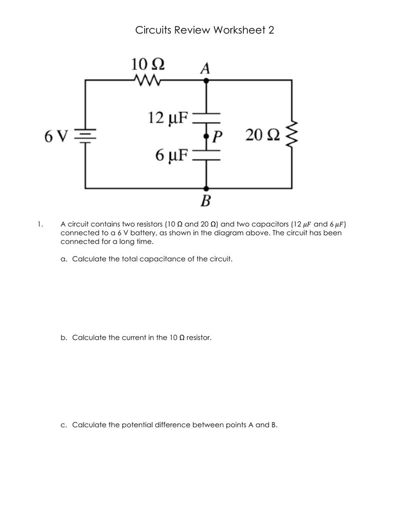 Circuits Review Worksheet 2 Circuit Diagram 018791089 1 67f35a7f116a35d144e113bf26839d7c