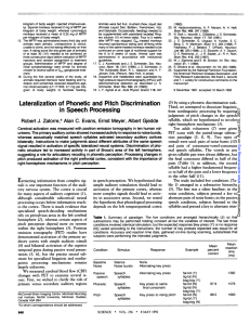 (1992). Lateralization of Phonetic and Pitch Discrimination in