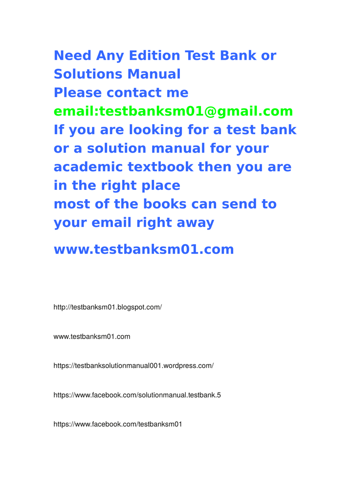 Need Any Edition Test Bank or Solutions Manual