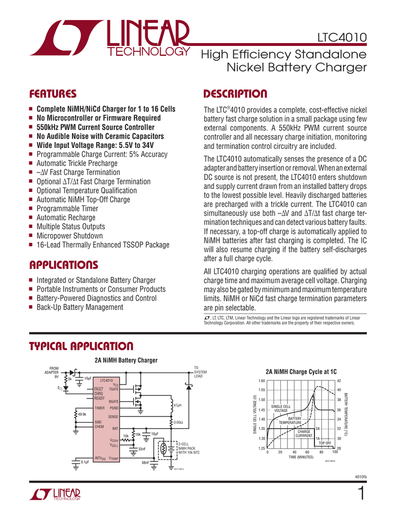 Ltc4010 High Efficiency Standalone Nickel Battery Charger Micropower Linear Voltage Regulator In The Circuit