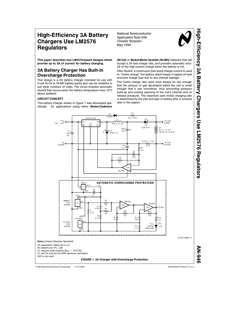 high efficiency 3a battery chargers use lm2576 regulatorsLm2576 In The Battery Charging Circuit Application #11
