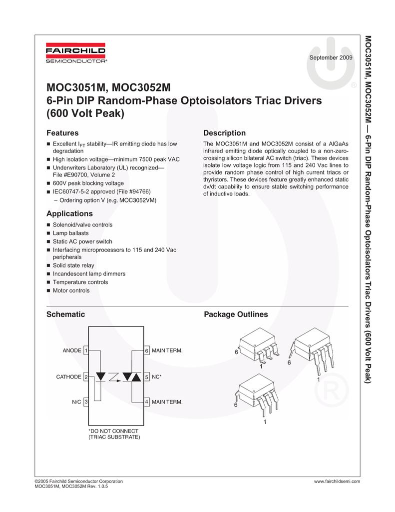 Fairchild Semiconductor Moc3021-m Optocoupler Triac Driver
