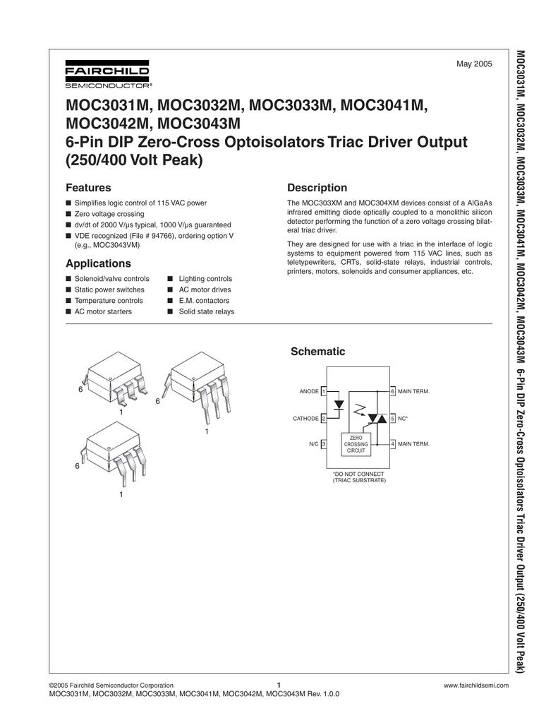 Moc3031m Moc3032m Moc3033m Moc3041m Relay Circuit Light Emitting Diode Symbol Hydraulic Valve Symbols