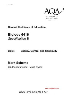 GCE Biology B Unit 4 - Energy, Control and Continuity Mark Scheme