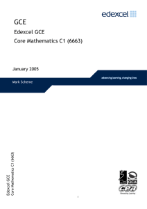 Edexcel GCE Core Mathematics C1 (6663)