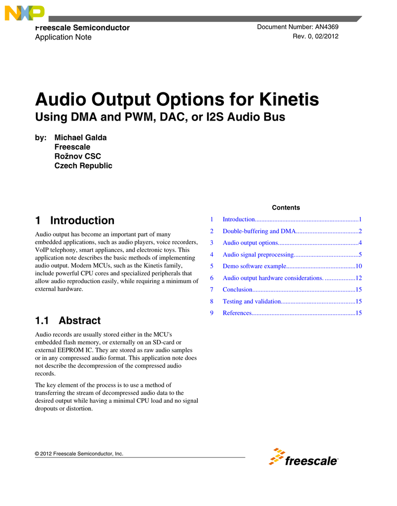 Audio Output for Kinetis MCUs using DMA/PWM, DAC or I2S