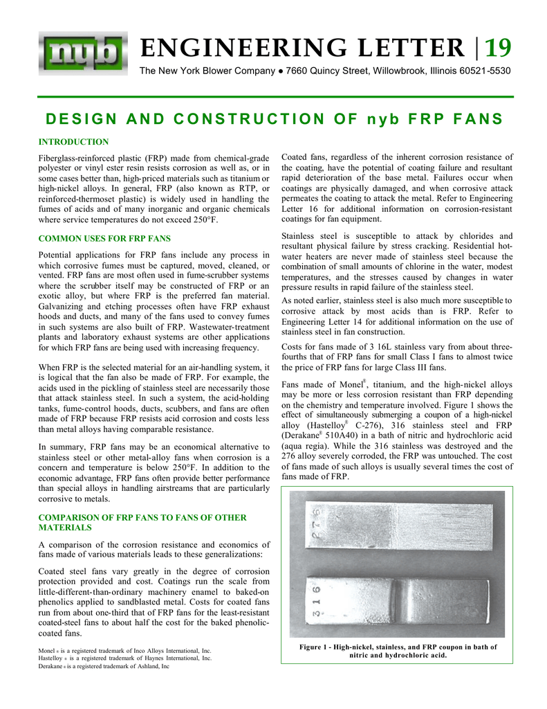 Design and Construction of NYB FRP Fans