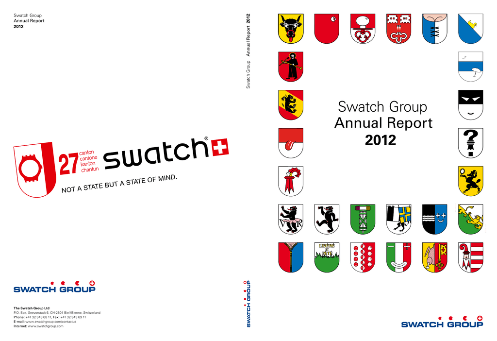 2813ef16a Swatch Group Annual Report 2012 Swatch Group Annual Report 2012 Swatch  Group Annual Report 2012 The Swatch Group Ltd P.O. Box, Seevorstadt 6,  CH-2501 Biel ...