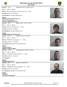 Weekly Arrest Report - Washington County Sheriff`s