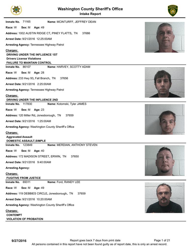 Weekly Arrest Report - Washington County Sheriff`s