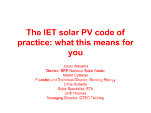 The IET solar PV code of practice