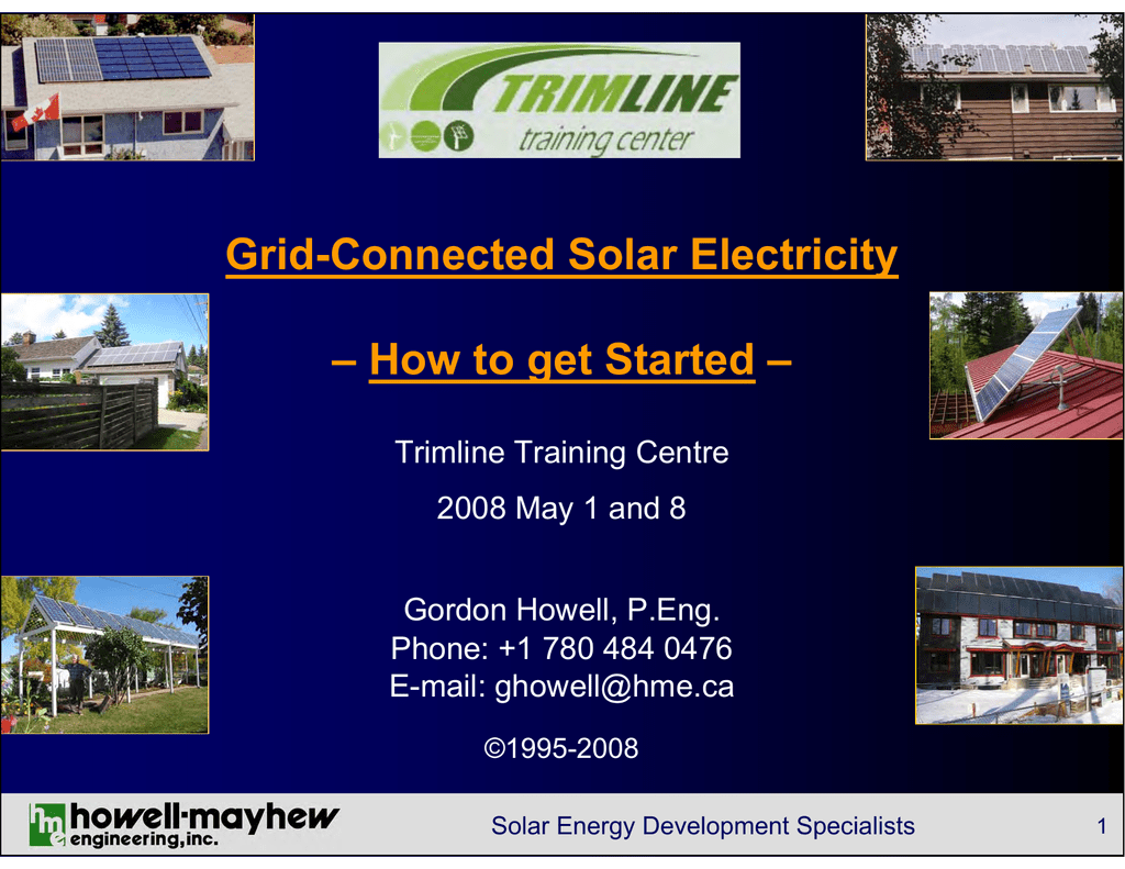 Intro grid-connected solar PV course - Howell