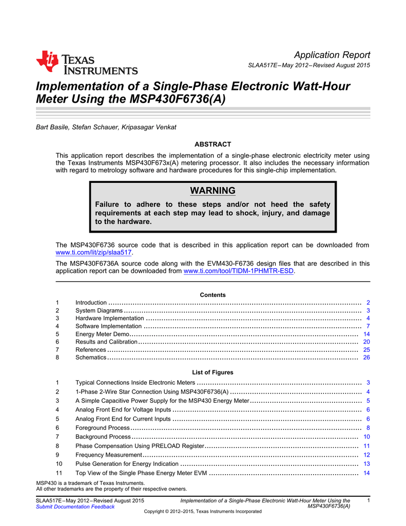 Implementation of a Single-Phase Electronic Watt