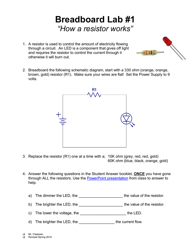 "Breadboard Lab #1 ""How a resistor works"""