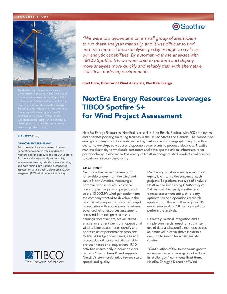 NextEra Energy Resources Leverages TIBCO Spotfire S+ for Wind
