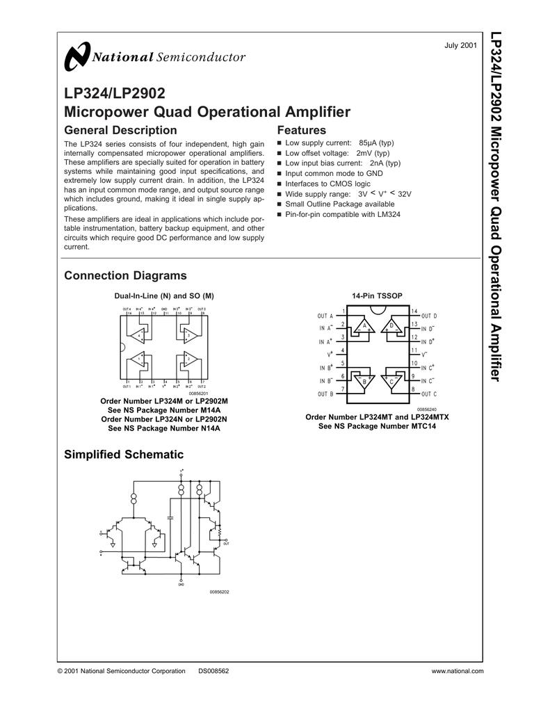 Lp324 Lp2902 Micropower Quad Operational Amplifier Lm324 1khz Bandpass Filter Electronic Circuits Schematics Diagram