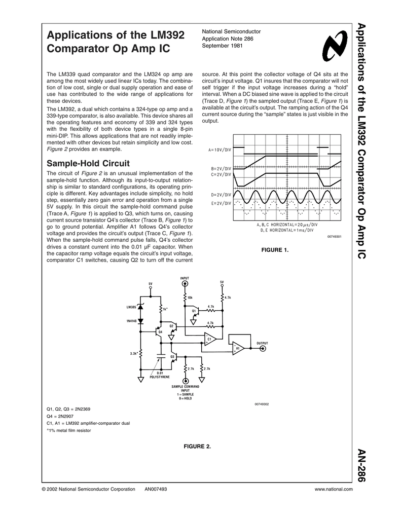 Application Note 286 Applications Of The Lm392 Comparator Op Temperature Alarm With Amp
