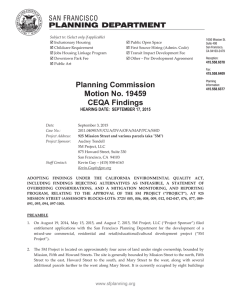 Planning Commission Motion No. 19459 CEQA Findings