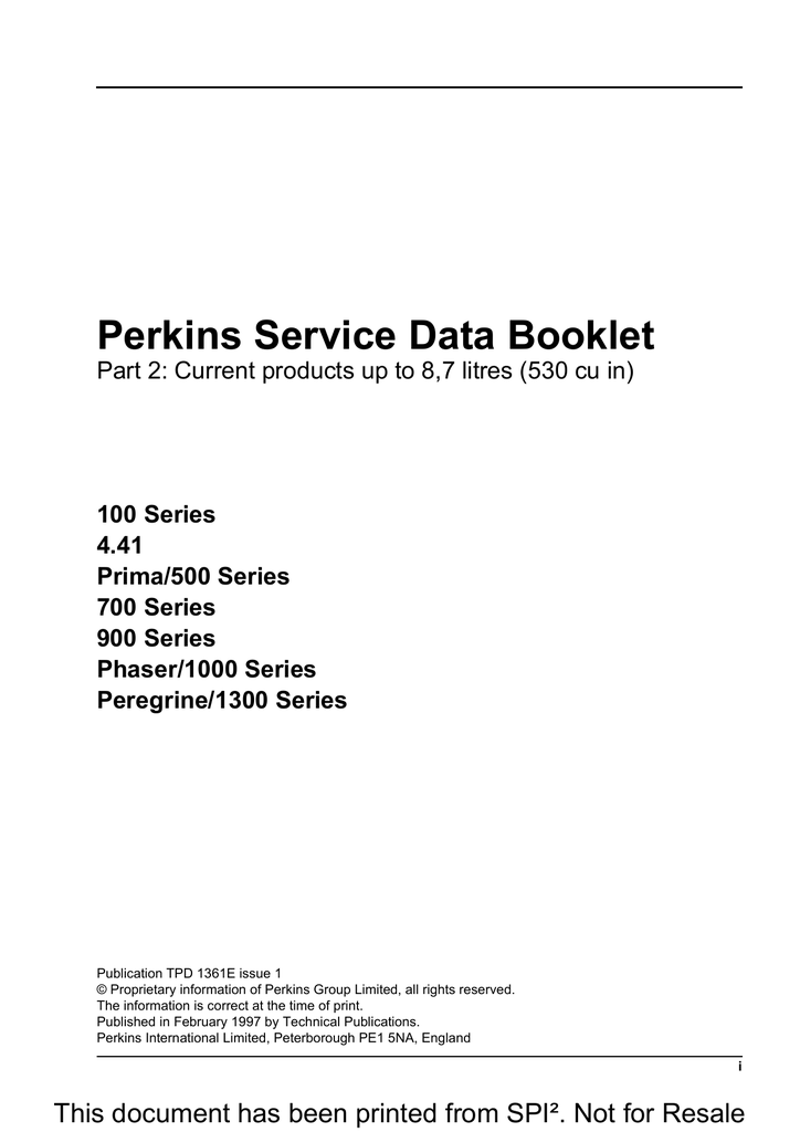 Perkins Service Data Booklet