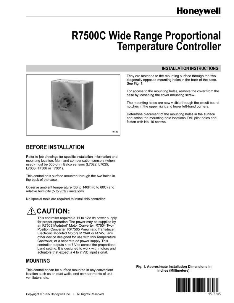 95 7205 R7500c Wide Range Proportional Modutrol Motor Wiring Diagram