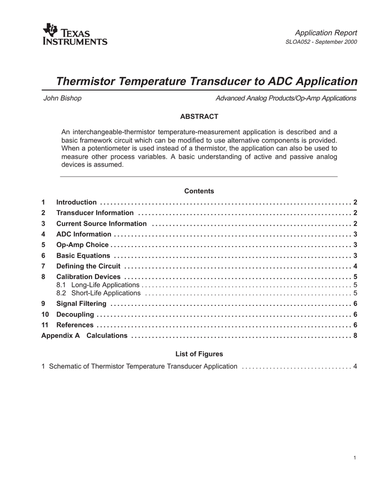 Thermistor Temperature Transducer to ADC