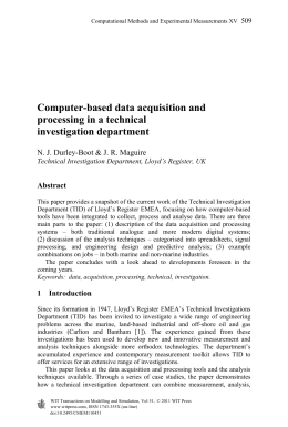 Computer-based data acquisition and processing in a