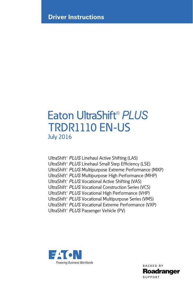 Eaton UltraShift® PLUS TRDR1110 EN-US