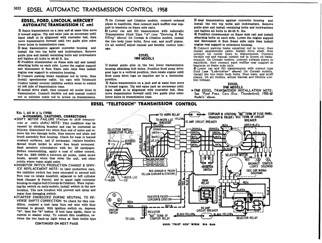 EDSEL AUTOMATIC TRANSMISSION CONTROL 1958
