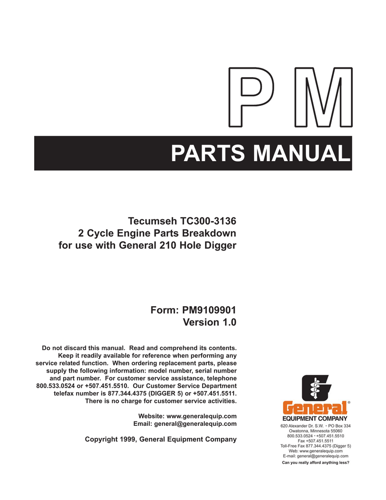 Tecumseh TC300-3136 2 Cycle Engine Parts Breakdown