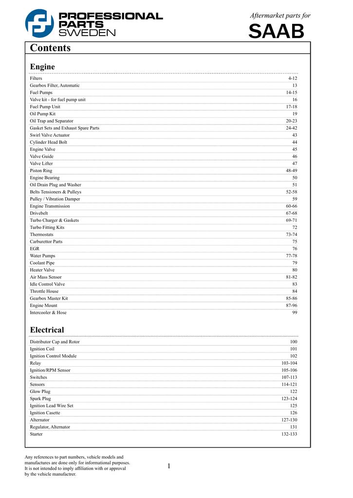 Contents - Professional Parts Sweden