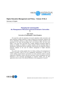 Higher Education Management and Policy