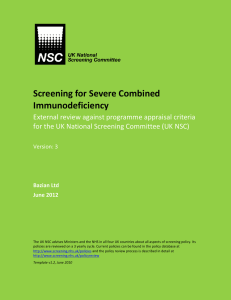 Screening for Severe Combined Immunodeficiency