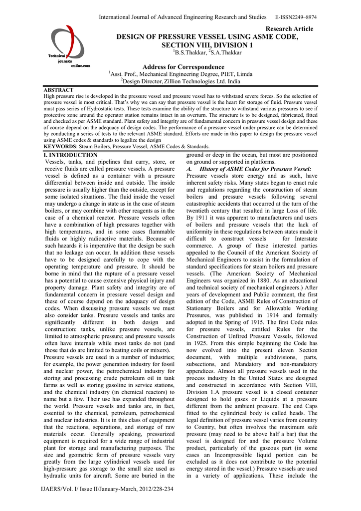design of pressure vessel using asme code, section viii, division 1