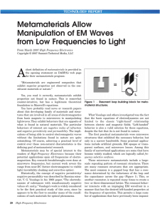 Metamaterials Allow Manipulation of EM Waves from Low