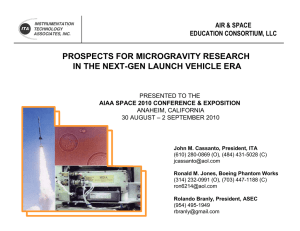 2010 AIAA Space 2010 Prospects for micro-g Research 8-27-10