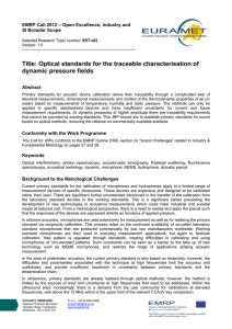 Title: Optical standards for the traceable characterisation of dynamic