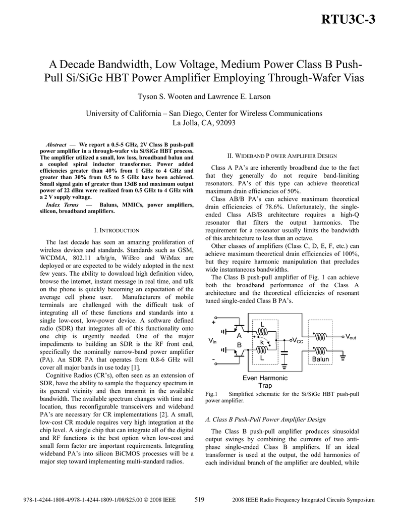 A Decade Bandwidth Low Voltage Medium Power Class B Push Pull Amplifier Schematic