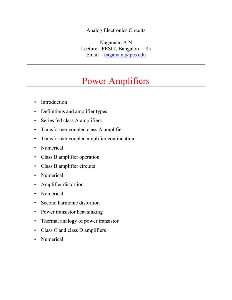 Power Amplifiers Vtu E Types Of Amplifier Circuits