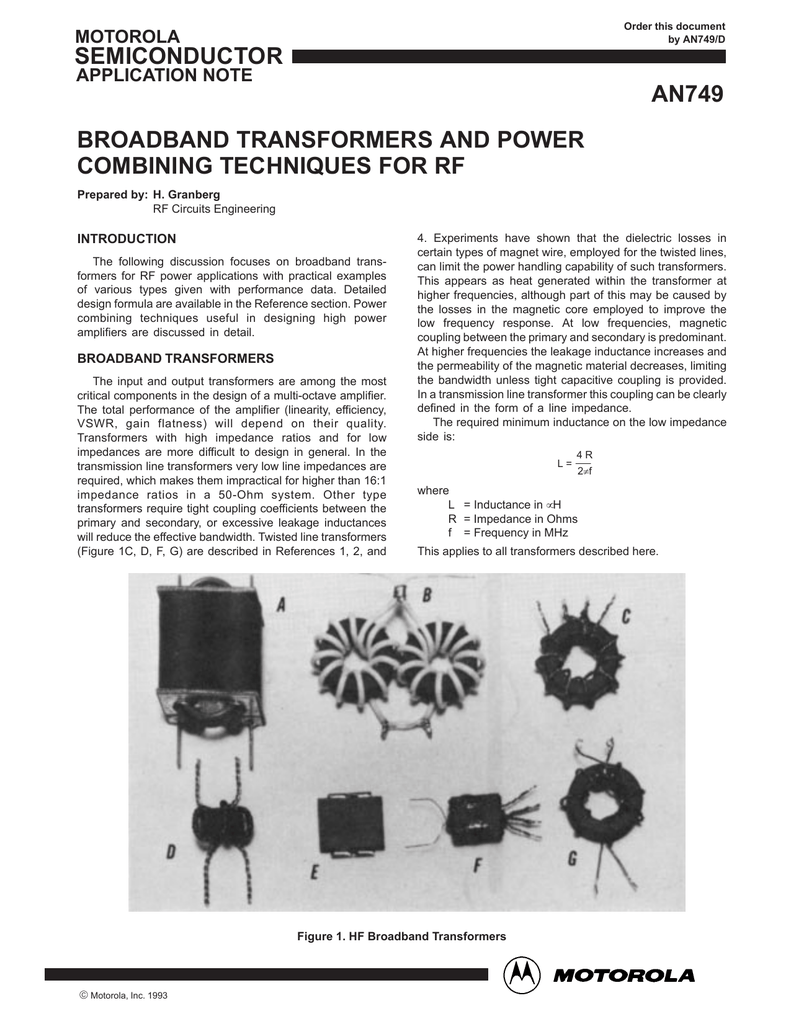 AN749: Broadband Transformers and Power Combining
